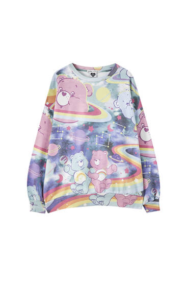 "Sweatshirt with an all-over ""Care Bears"" print"