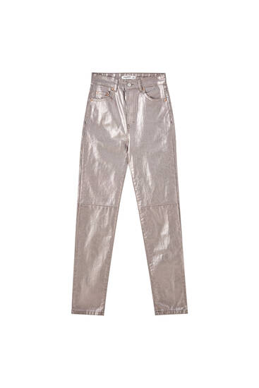 High-waist metallic trousers