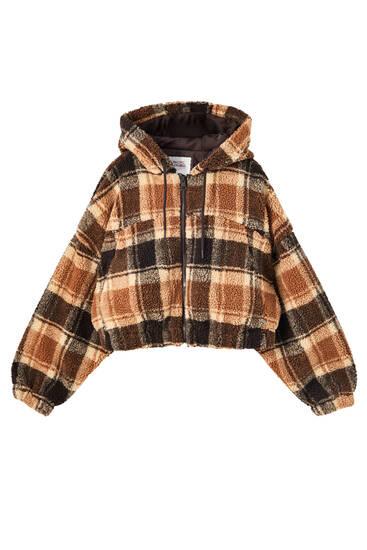 Check faux shearling jacket