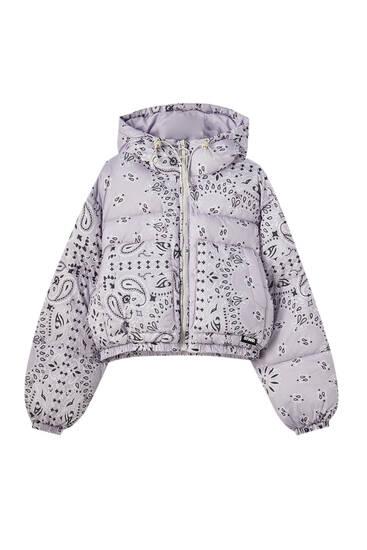 Bandana print puffer jacket