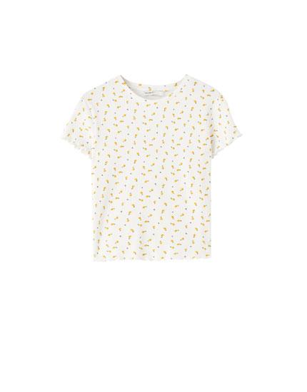 Dicht gewebtes Shirt mit Muschelsaum und Print
