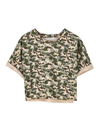 Basic cropped cotton T-shirt