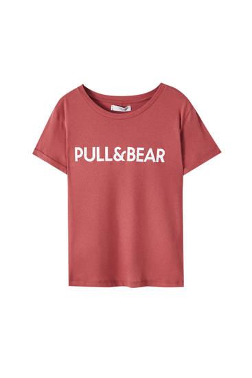 Maglietta basic colorata con logo a contrasto