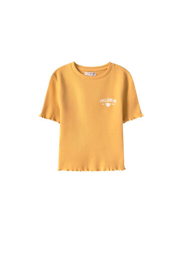 Укороченная футболка из ткани полотняного плетения с логотипом