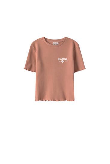 Check-texture cropped logo T-shirt