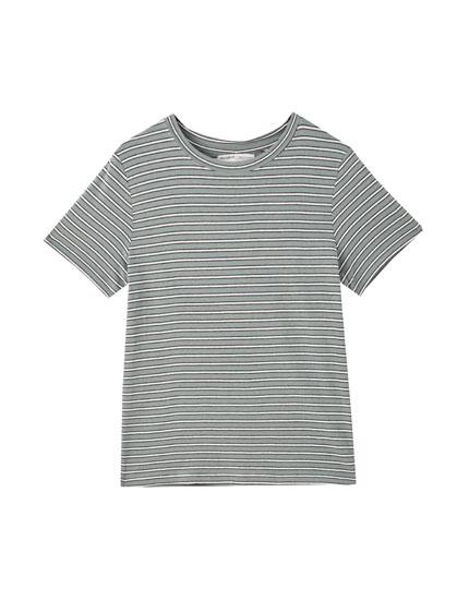 Basic stripe print T-shirt