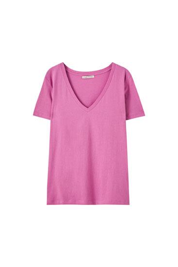 Shirt mit V-Ausschnitt aus Baumwolle