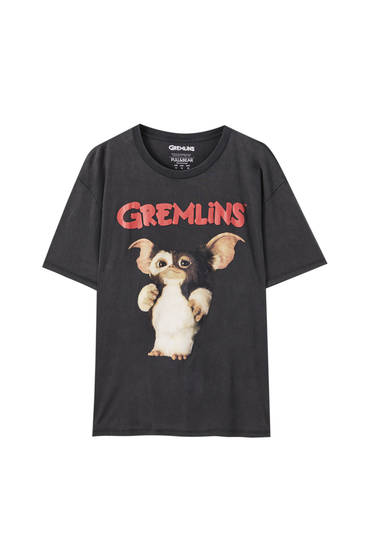 """T-Shirt """"Gremlins"""" in verwaschenem Schwarz"""