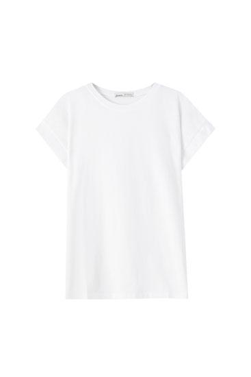 Basic-Shirt aus Baumwolle mit Rundausschnitt