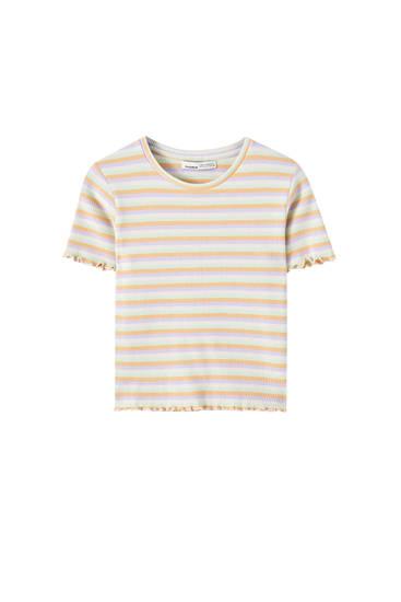 T-shirt basique à bords cannelés