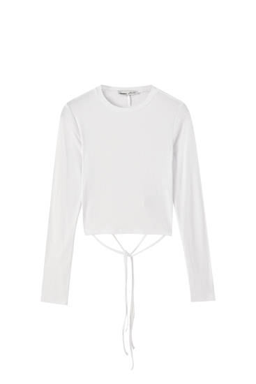 Camiseta espalda abierta manga larga