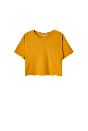 Cropped T-shirt with unfinished hems
