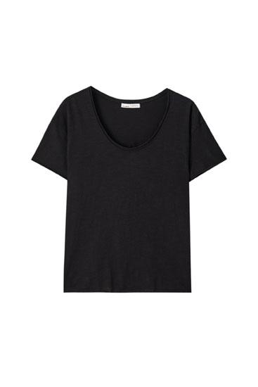 Basic T-shirt med synlig søm