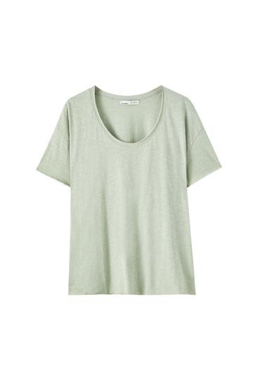 Basic Shirt mit Rundbiese