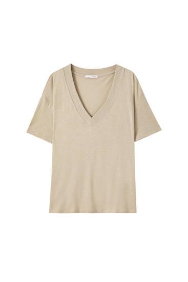 Basic oversized slub knit T-shirt