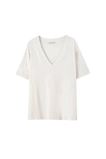 Basic-Shirt aus Flammengarn im Oversize-Fit