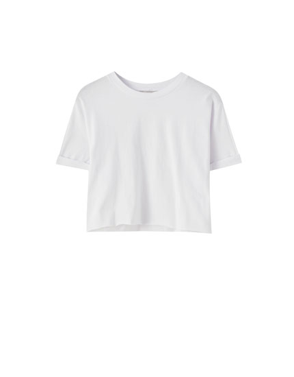 Kenarı dikişsiz crop fit t-shirt