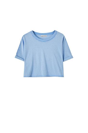 Cropped-Shirt mit nicht vernähtem Saum