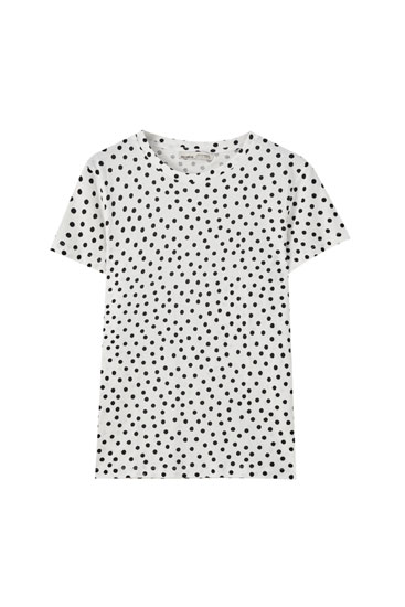 T-shirt blanc imprimé pois