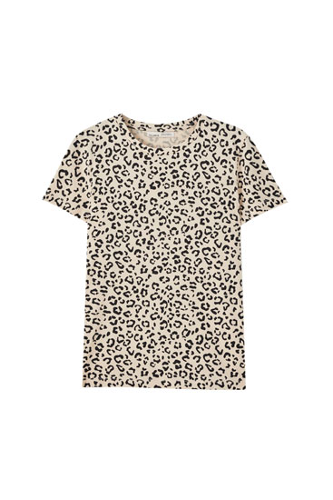 Camiseta print leopardo all over