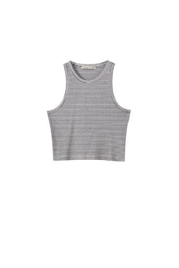 T-shirt court côtelé sans manches