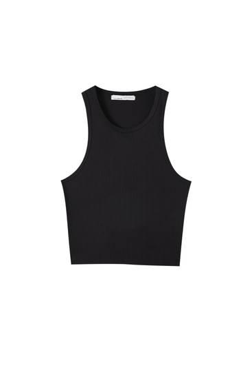 Geripptes Cropped-Shirt ohne Ärmel