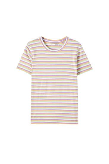 Basic horizontal stripe print T-shirt