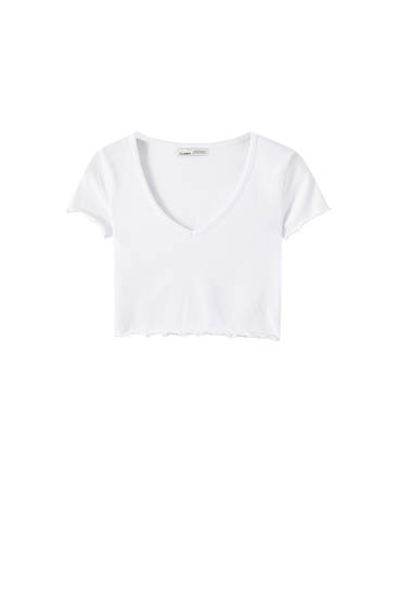 T-shirt court col en V