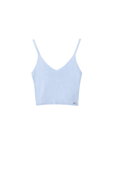 Top cropped canalé escote pico