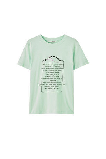 Basic T-shirt with contrast slogan