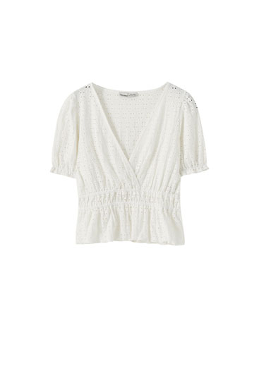 Swiss-embroidered wrap top