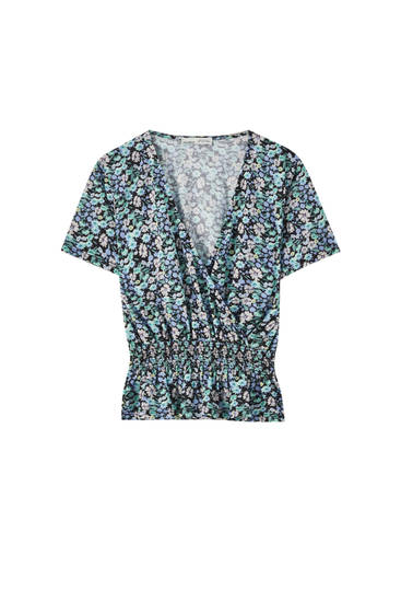 Floral crossover crepe top
