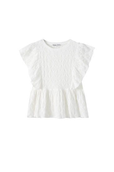 White Swiss embroidery blouse with ruffles