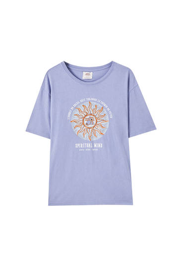 Faded blue T-shirt with illustration