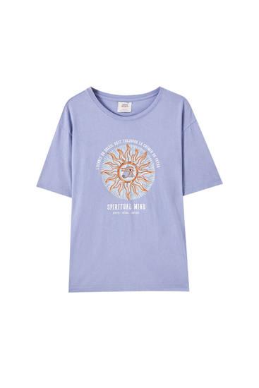 Maglietta blu delavé con immagine