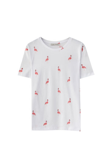 Базовая футболка с принтом «Фламинго»
