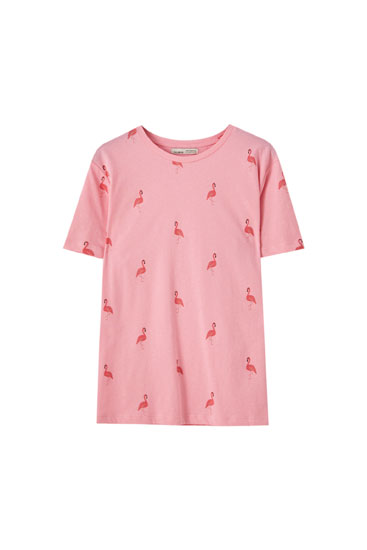 T-shirt basique imprimé flamants roses