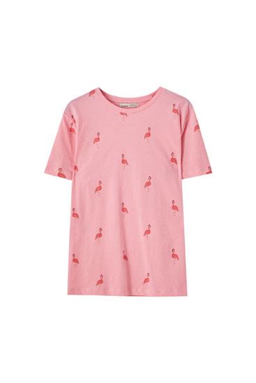Basic T-shirt met flamingoprint