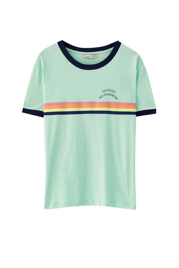 Ribbed T-shirt with rainbow illustration