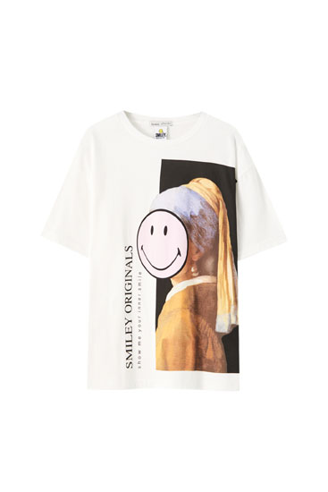 T-shirt Smiley Jeune perle