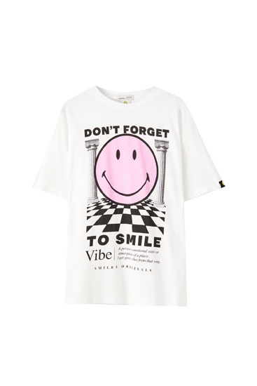 Camiseta Smiley columnas texto