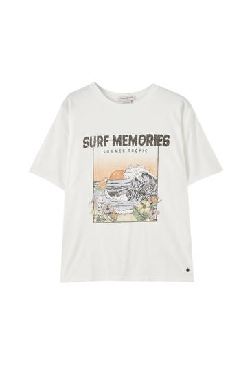 "T-shirt with ""Surf Dyton"" illustration"