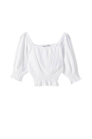 T-shirt blanc smocks à fil élastique