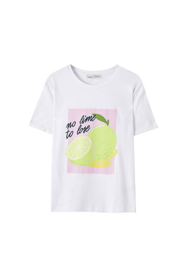 White T-shirt with lime illustration