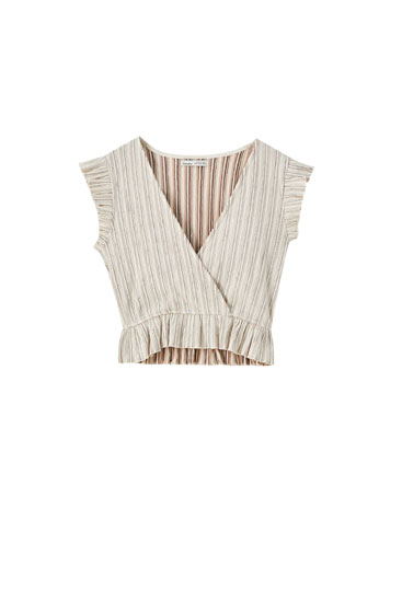 Stretchy striped wrap top