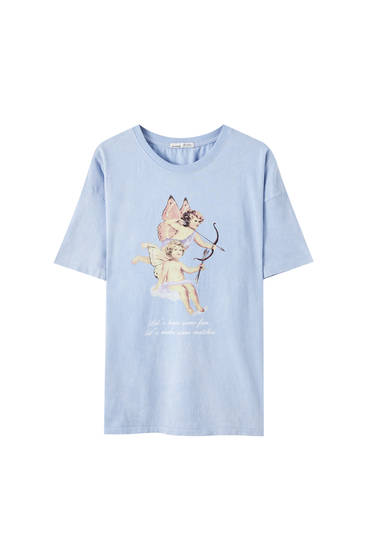 Blue T-shirt with angel illustration