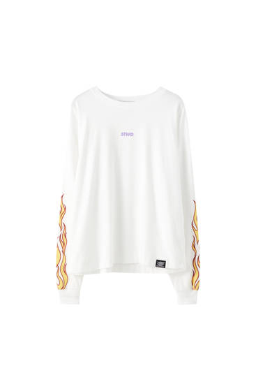 White T-shirt with flame design