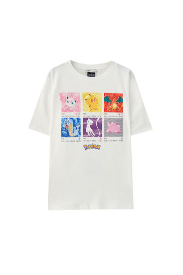 Pokémon T-shirt with character card illustrations