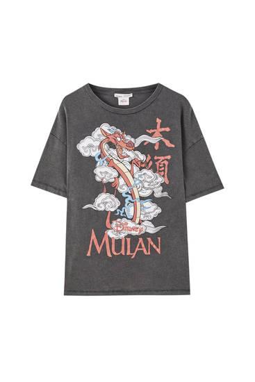 Camiseta Mulán negro delavado