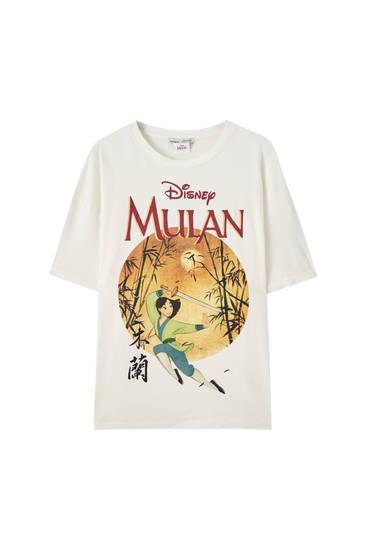 """Weißes T-Shirt """"Mulan"""" mit Kreis"""